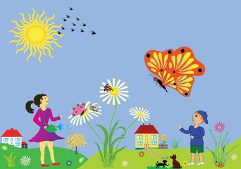 Background, scenery spring and summer period.  Vector illustration of happy family and animals with the arrival of the spring seasonal.