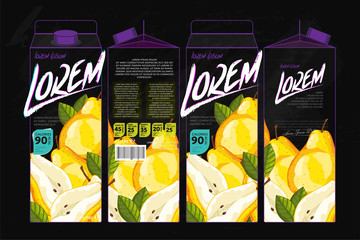 Template Packaging Design Pear Juice. Concept design of Fruit Juice. Abstract Cardboard Box for Juice. Vector Packaging of Pear Juice. Packaging Elements of Cardboard Box Template