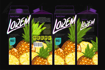 Template Packaging Design Pineapple Juice. Concept design of Fruit Juice. Abstract Cardboard Box for Juice. Vector Packaging of Pineapple Juice. Packaging Elements of Cardboard Box Template