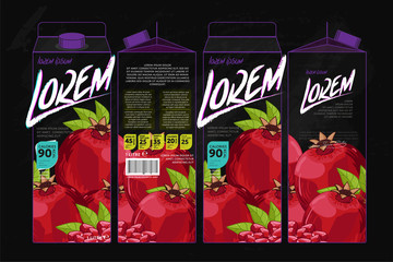 Template Packaging Design Pomegranate Juice. Concept design of Fruit Juice. Abstract Cardboard Box for Juice. Vector Packaging of Pomegranate Juice. Packaging Elements of Cardboard Box Template
