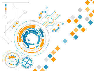 Technological abstract vector illustration with gear wheels, square pattern and circuit board.