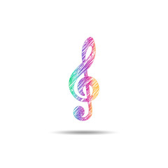 painted treble clef in different colors