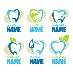 vector collection of healthy teeth, dental symbols, logo and ico