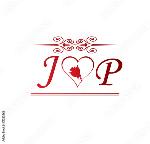 JP love initial with red heart...