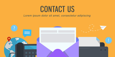 Flat design style banners for web pages with basic and contact information about the company or individual.