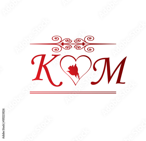 Km Love Initial With Red Heart And Rose Stock Image And Royalty
