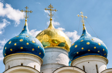 Domes of the Assumption Cathedral in Trinity Sergius Lavra, Russia