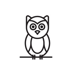 Little cute vector owl  sitting on a tree branch. Cute owl cartoon character made in line art style.
