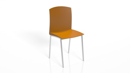 Orange Chair, furniture isolated on white background