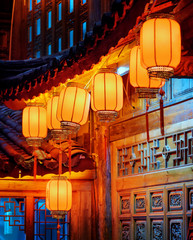 Night view of Chinese street lanterns on carved facade