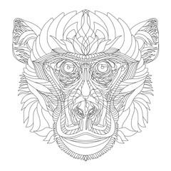 Vector hand drawn monkey. Symbol of 2016 new year.