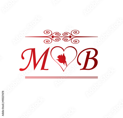 Quotmb love initial with red heart and rosequot stock image and for M bel muschenich
