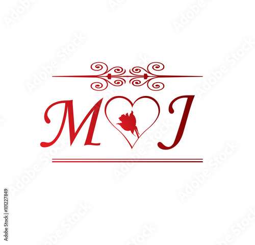 quotmj love initial with red heart and rosequot stock image and