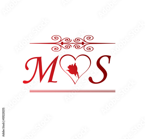 ms love initial with red heart and rose stock image and royalty
