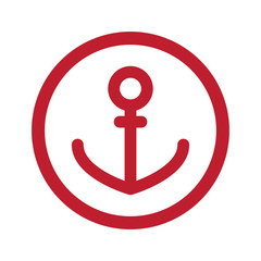 Flat red Anchor icon in circle on white