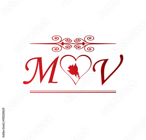 Mv Love Initial With Red Heart And Rose Stock Image And Royalty