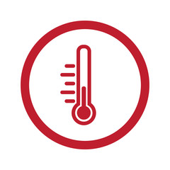Flat red Temperature icon in circle on white