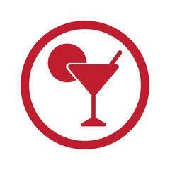 Flat red Cocktail icon in circle on white