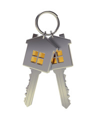 Bunch of two silver house-shape keys on a key ring isolated on white background