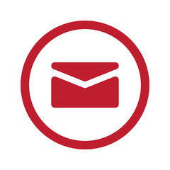 Flat red Mail icon in circle on white