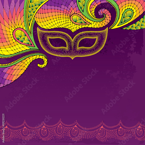 Greeting card with dotted carnival mask in yellow and decorative greeting card with dotted carnival mask in yellow and decorative colorful lace on the violet background m4hsunfo