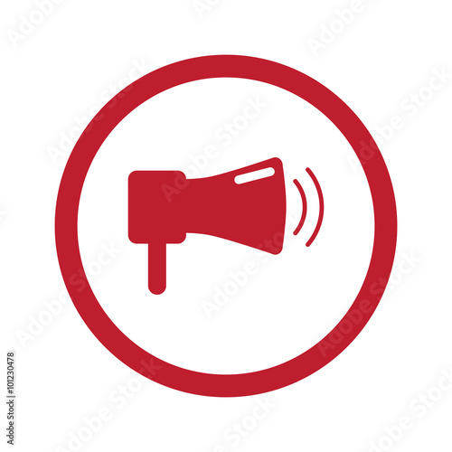 """Flat red Megaphone icon in circle on white"" Stock image ..."