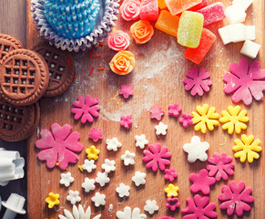 A variety of sweets to cook, pastry concept