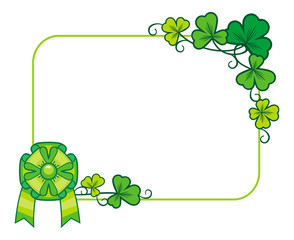 Beautiful frame with clover and green bow