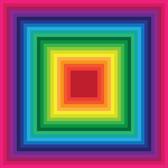 Rainbow square background of colored lines