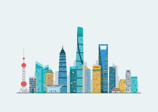 Shanghai abstract skyline
