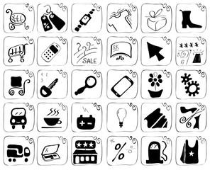 Icons theme purchase/set of vector illustration icons theme shopping