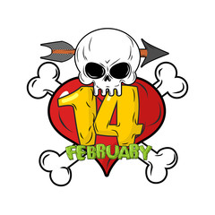 14 February. Valentines day logo for love until death. Head skul