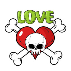 Skull and heart. Love to death is an emblem for feast of St. Val