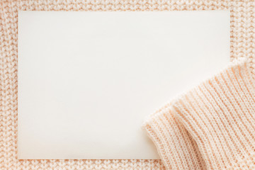 Abstract knitted background with clear paper.