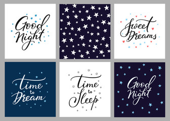 Good night lettering postcard set