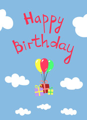 Happy Birthday Greeting Card with Presents, Colorful Baloons, Clear Sky and Clouds on the Background