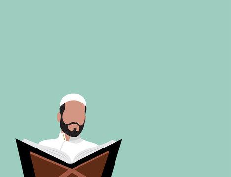 Muslim reading Quran - flat design