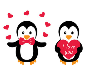 penguins and heart