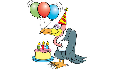 Cartoon illustration of a buzzard wearing a party hat with a birthday cake and balloons.