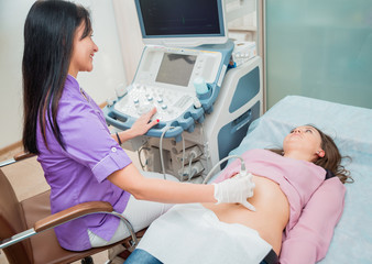 Doctor and patient. Ultrasound equipment.