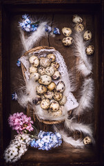 Quail  eggs with feathers and hyacinths flowers in vintage wooden box, top view. Easter greeting card