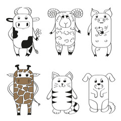 Set of cute cartoon animals. Vector illustrations.