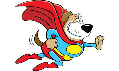 Cartoon illustration of a dog dressed as a super hero.