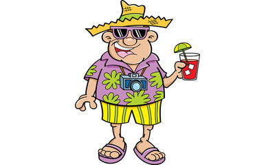 Cartoon illustration of a tourist holding a drink.