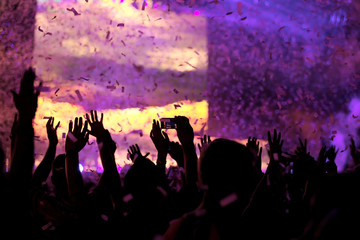 Genuine shot of many hands in the air on a Dutch EDM festival during a confetti burst.