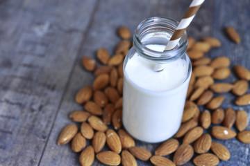 Almond milk in a bottle.