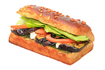 Healthy sandwich with eggplant, lettuce, cheese and tomato