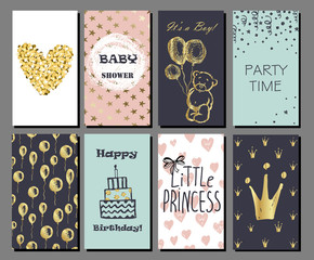 Set of hand drawn cute cards with gold Confetti glitter and foil. Baby shower.