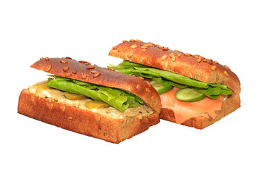 Healthy sandwich with salmon,lettuce and sliced cucumbers