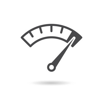 Info-graphic gauge element. Speedometer icon or sign with arrow. Vector.